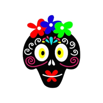 Girl skull with flowers for day of the dead