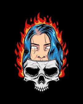 Girl on a skull
