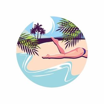 Girl sleep in beach illustration