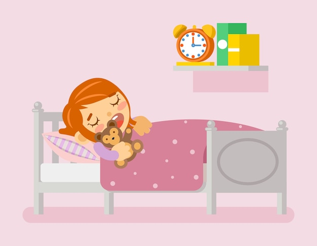 Girl sleeping in the bed under blanket with teddy bear.