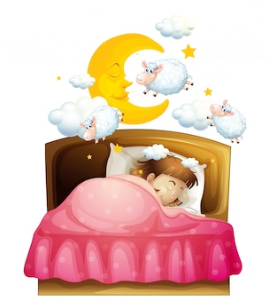 Girl sleeping in bed dreaming of sheeps