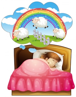 Girl sleeping and counting sheeps in dream