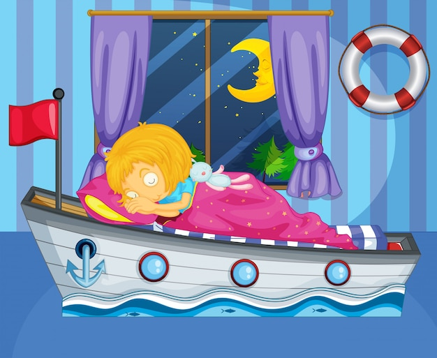 A girl sleeping on her boat-like bed