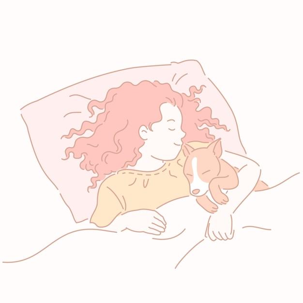 ラインスタイルでコーギーを抱き締めるベッドで寝ている女の子