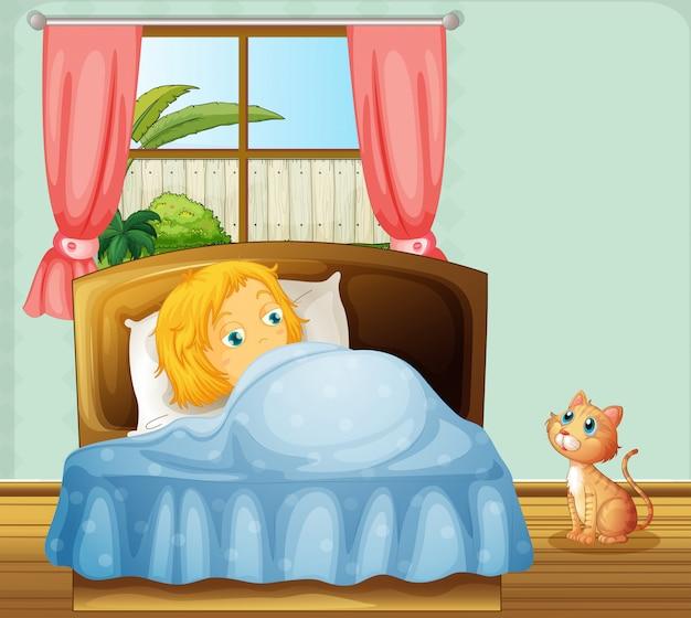 女の子は寝室で寝ている