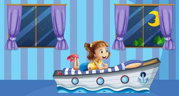青の部屋のベッドで寝ている女の子