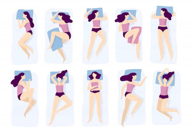 Girl sleeping poses, various sleep pose with hand on pillow case, sleep position isolated