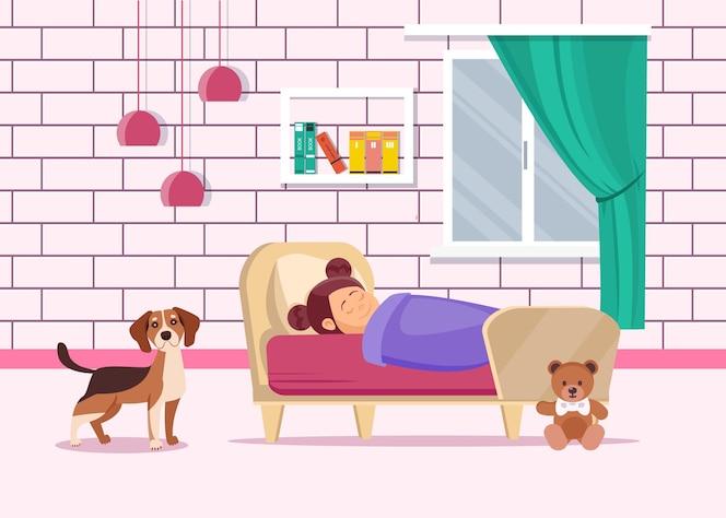 Girl sleeping with dog in bedroom.