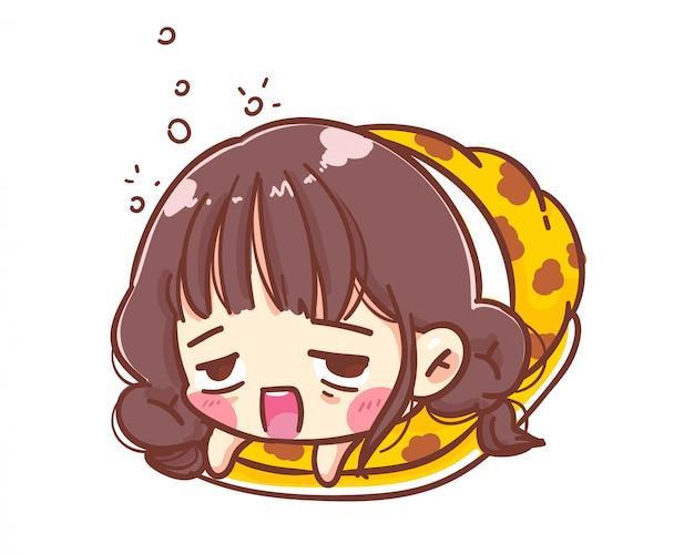 소녀는 담요를 감싸고 매트리스에서 잔다. 만화 그림 로고. 프리미엄 벡터