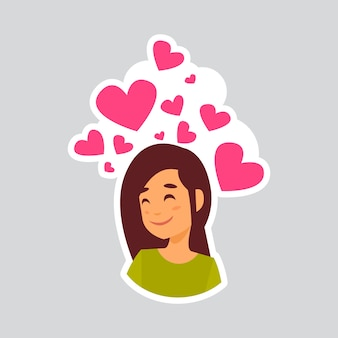 Girl Smiling Over Heart Shape Sticker For Messenger