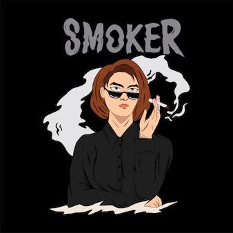 Девушка курит иллюстрация для футболки
