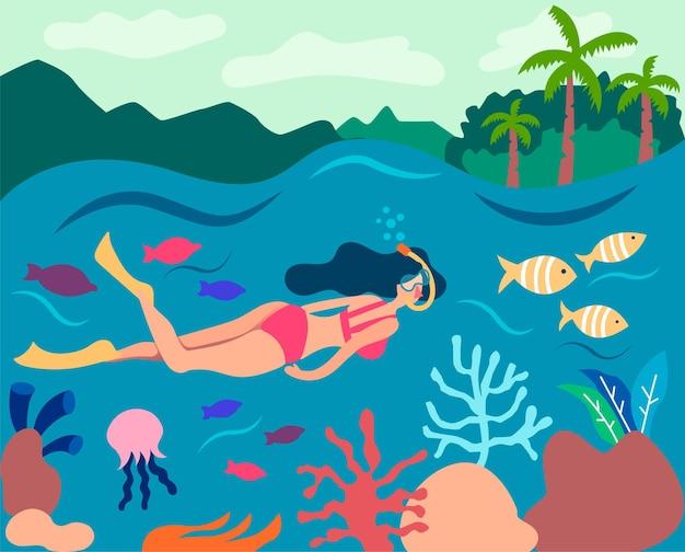 소녀 스노클링 큰 배리어 리프 수영 수중 마스크 시계 물고기 산호 바다 수중 파노라마