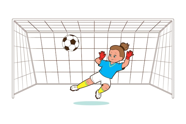 Girl soccer player, goalkeeper, catches the ball in the soccer goal. vector illustration in cartoon style, comic flat