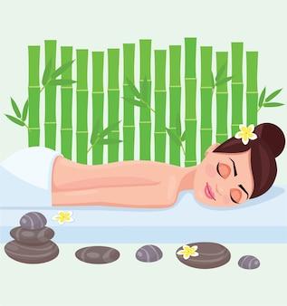 Girl on spa treatment vector illustration