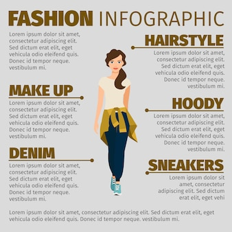 Girl in sports clothes fashion infographic template