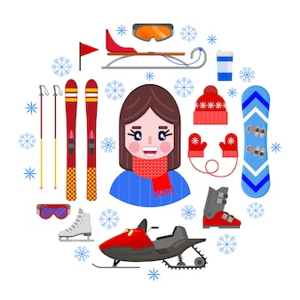 Girl and sports winter equipment