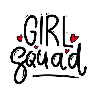 Girl squad. lettering phrase for postcard, banner, flyer. vector illustration
