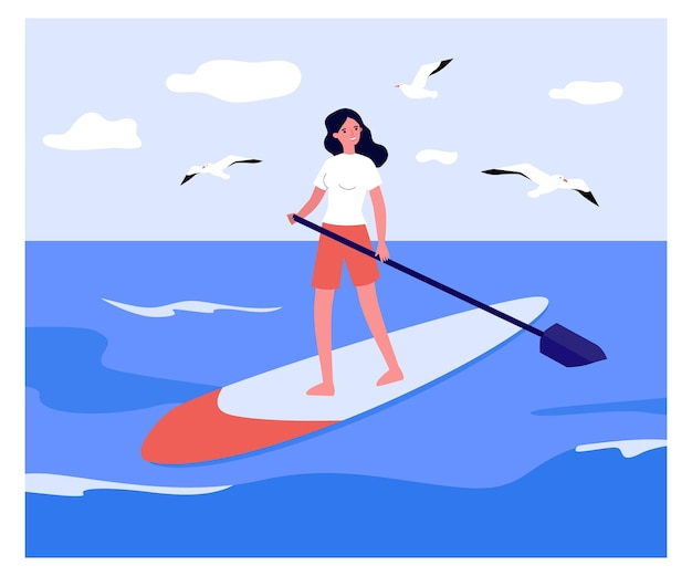Girl standing on board with paddle. flat vector illustration.  young woman interested in stand-up paddle boarding, doing water sports, swimming on water. sport, surfing, fitness, nature, hobby concept
