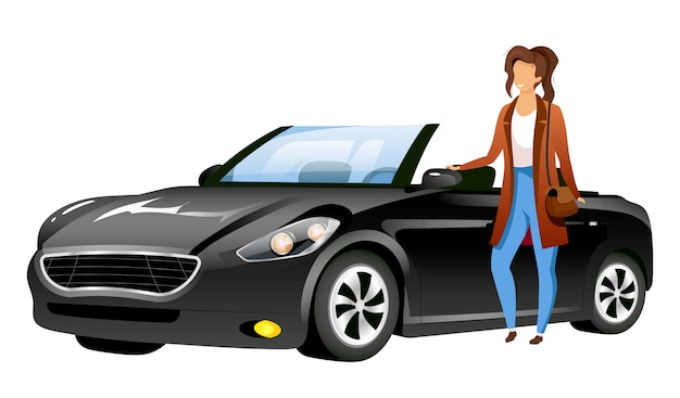 Girl standing by car flat character