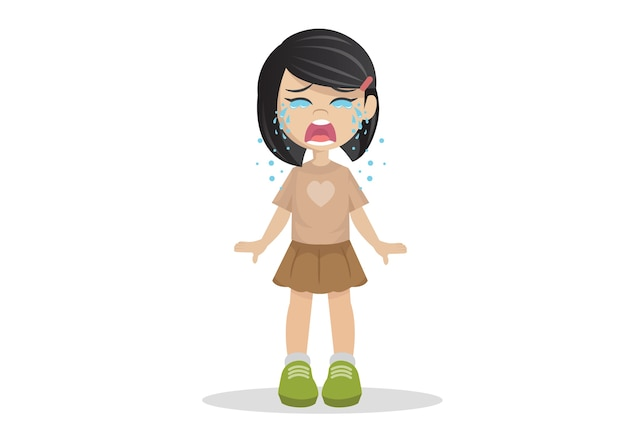 Girl standing crying.