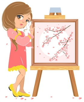 Girl standing near easel painter, picture of cherry blossoms