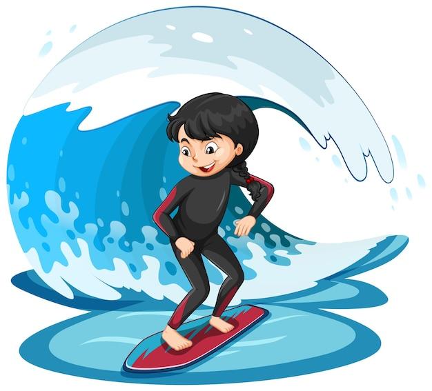 파도와 서핑 보드에 서 있는 소녀