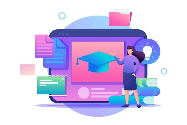 소녀는 교육 자료, 원격 교육으로 태블릿 화면 옆에 서 있습니다.