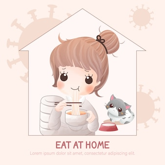 The girl stays at home and eats at home to keep social distancing and stop covid-19 outbreak.