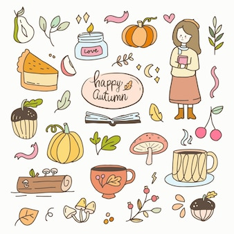 Girl sticker fall autumn element cartoon illustration doodle badges. hand drawn icon planner collection set.