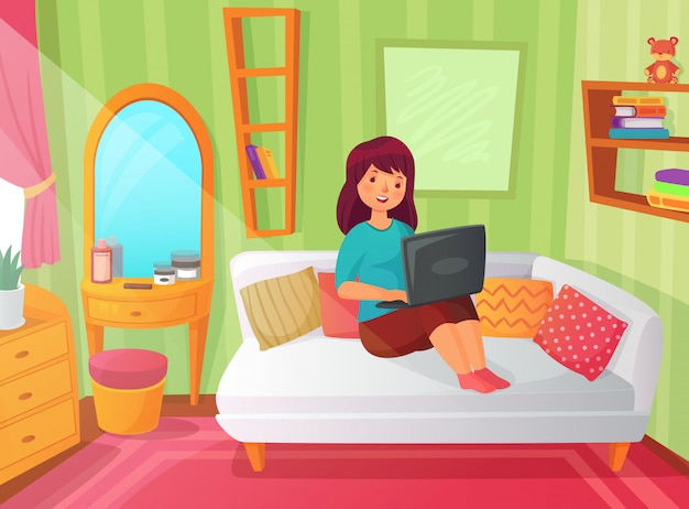 Girl student bedroom. teenager apartment room, online study at home and woman student reading on laptop computer cartoon illustration