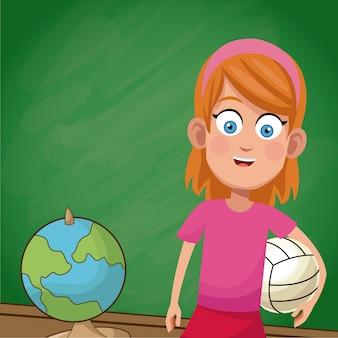Girl student chalkboard sport