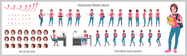 도보주기 애니메이션 소녀 학생 캐릭터 디자인 모델 시트. 소녀 캐릭터 디자인. 전면, 측면, 후면 및 설명자 애니메이션 포즈. 다양한 뷰와 립싱크가있는 문자 세트