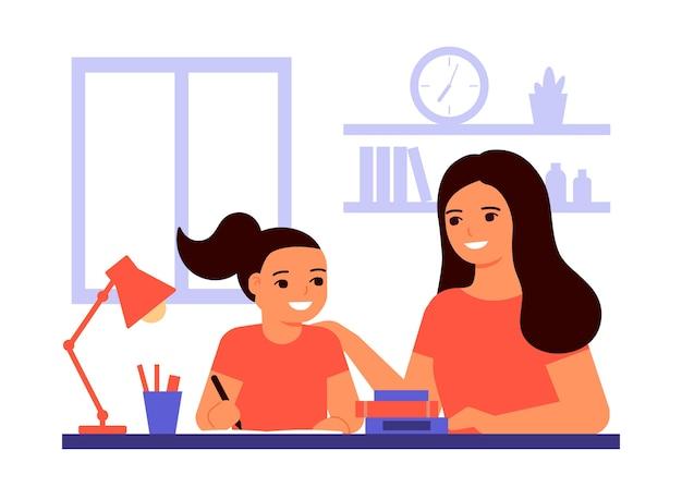 여자 학생은 집에 앉아 선생님, 엄마의 도움으로 수업을 배우고 있습니다. 아이는 숙제를하고 있습니다. 엄마는 과제 해결을 돕습니다. 가정 학교, 온라인 교육, 지식 개념. 플랫