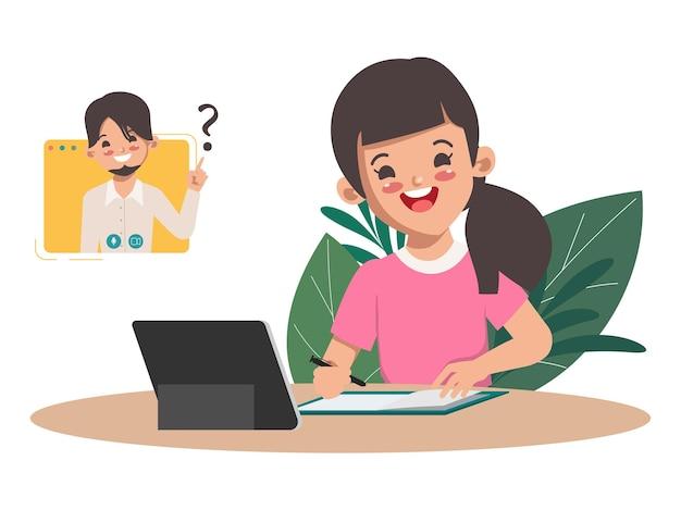 ノートパソコンでオンライン学校教育を学ぶ女子学生