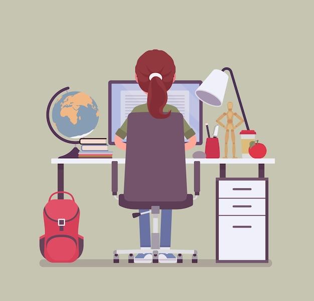 책상에 앉아 여자 학생