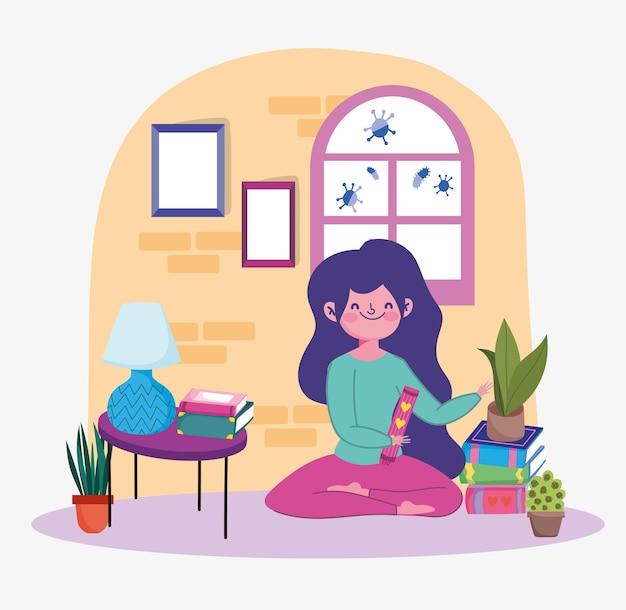 Девушка учится дома