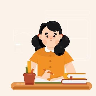 Girl study at home illustration