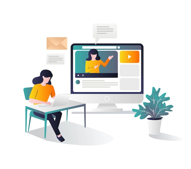 Girl studying at desk with tutorial on computer