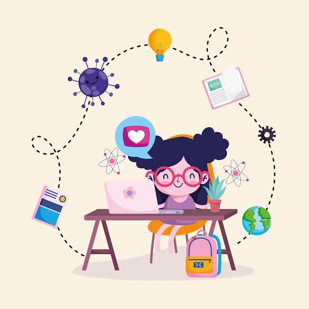 ノートパソコンを勉強している女の子