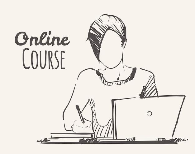 オンラインコースで勉強している女の子、スケッチイラスト