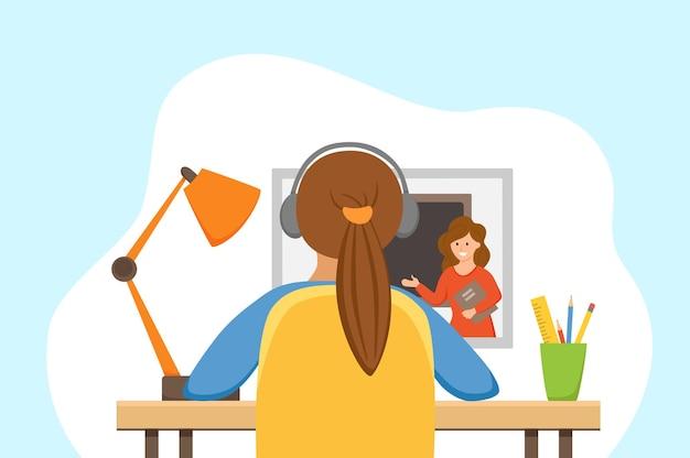 自宅でオンライン教育を勉強している女の子漫画ベクトルイラスト。宿題サーフィンインターネットeラーニング学校レッスンのコンセプトを行う学生の職場のデスクトップコンピュータ。生徒の子供の学習プロセス