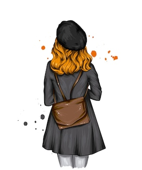 Girl in a stylish beret and coat with a backpack