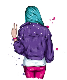 Girl in a stylish jacket