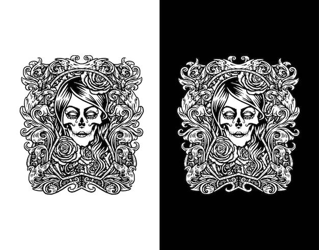 Девушка сахарный череп, изолированные на белом и черном
