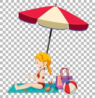 Девушка загорает на пляжном матрасе