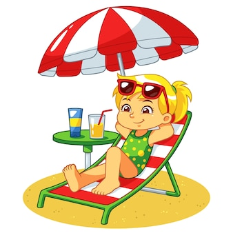 Girl sunbathing and relaxing on the beach