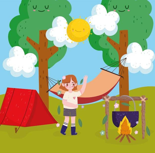 야외에서 캠핑하는 소녀 화창한 날