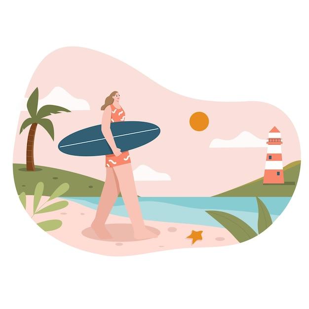 Девушка серфинг плоская иллюстрация
