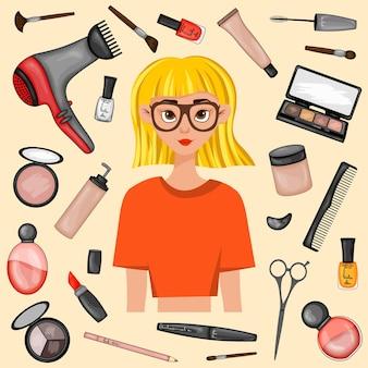 美容アイテムに囲まれた女の子。漫画のスタイル。ベクトルイラスト。