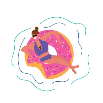 Girl swims lies inflatable circle shape donut mass tourism inspire to travel